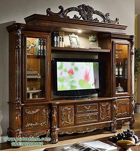 Bufet TV Mewah Ukiran Terbaru