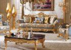 Kursi Sofa Tamu Romawi Klasik Gold