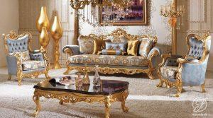 Sofa Tamu Romawi Klasik Gold