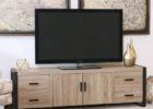Meja TV Minimalis Kombinasi Kayu dan Besi