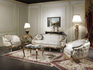 Set Sofa Ruang Tamu Mewah Golden