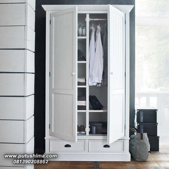Lemari Pakaian 2 Pintu Putih Minimalis