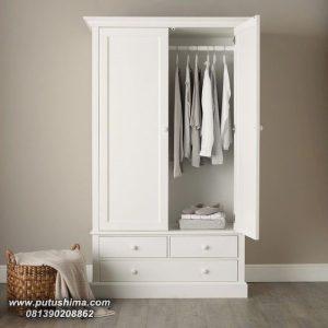 Lemari Pakaian Minimalis 2 pintu Putih