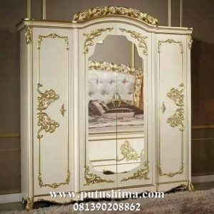 Lemari Pakaian 4 Pintu Mewah Putih Emas