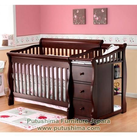 Tempat Tidur Bayi Jati Minimalis Laci