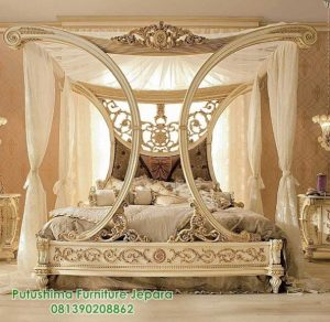 Tempat Tidur Mewah Ukiran Kanopi