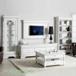 Lemari TV Hias Robot Putih