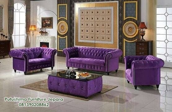 Sofa Minimalis Chesterfield Purple
