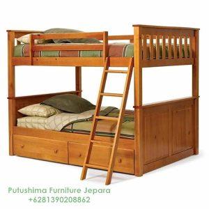 Tempat Tidur Tingkat Jati Tangga Simpel