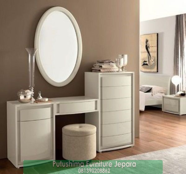 Jual Meja Rias Putih Cermin Oval