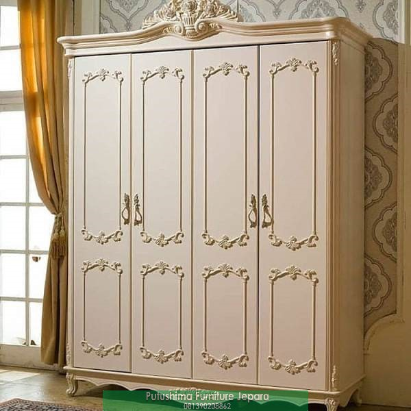 Jual Lemari Pakaian 4 Pintu Klasik Putih