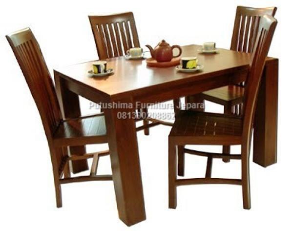 Jual Meja Makan 4 Kursi Jati Cafe
