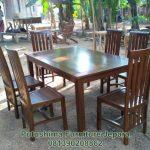 Meja Makan 6 Kursi Resto Cafe Jati