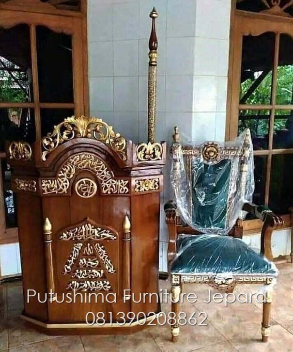 Jual Set Mimbar Masjid Jati Ukir
